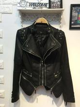THOOO brands women's lady Sexy Punk fashion metal rivets black Faux pu leather motorcycle jacket coat Wholesale oem fob size