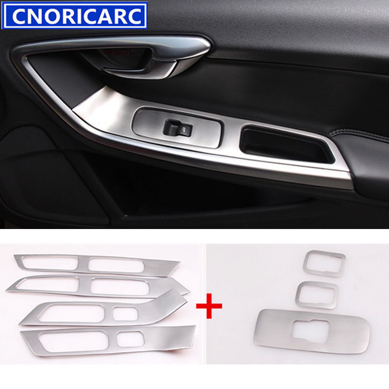 CNORICARC 7pcs Stainless Steel Door Window Lifter Panel Decorative Sticker Door Armrest Cover Trim Strip For
