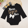 2 pcs baby onesie 2017 ins  baby girls rompers+head wear  girls letter printed clothing long sleeve spring for the newborn.