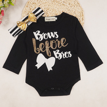 2 pcs baby onesie 2016 ins baby girls rompers+head wear girls letter printed clothing long sleeve spring for the newborn.