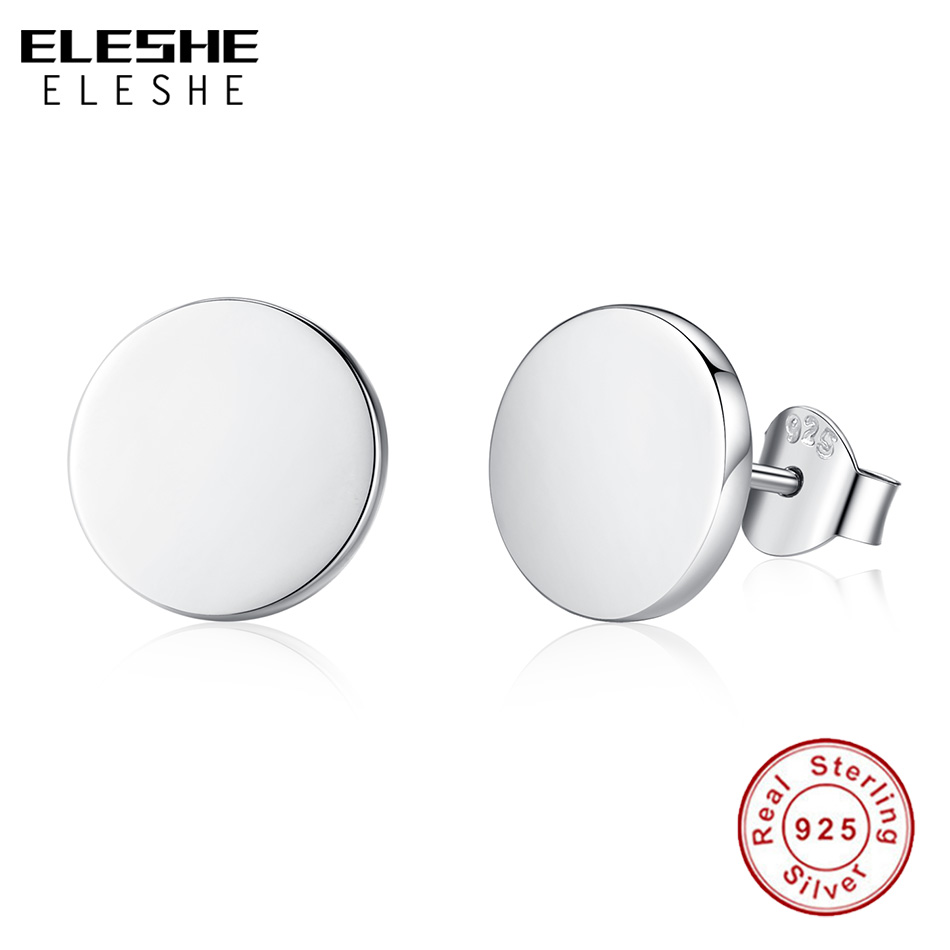 ELESHE Engrave Name Studs Earrings Black 100% 925 Sterling Silver Round Shaped Customized Earrings Women Men Earrings