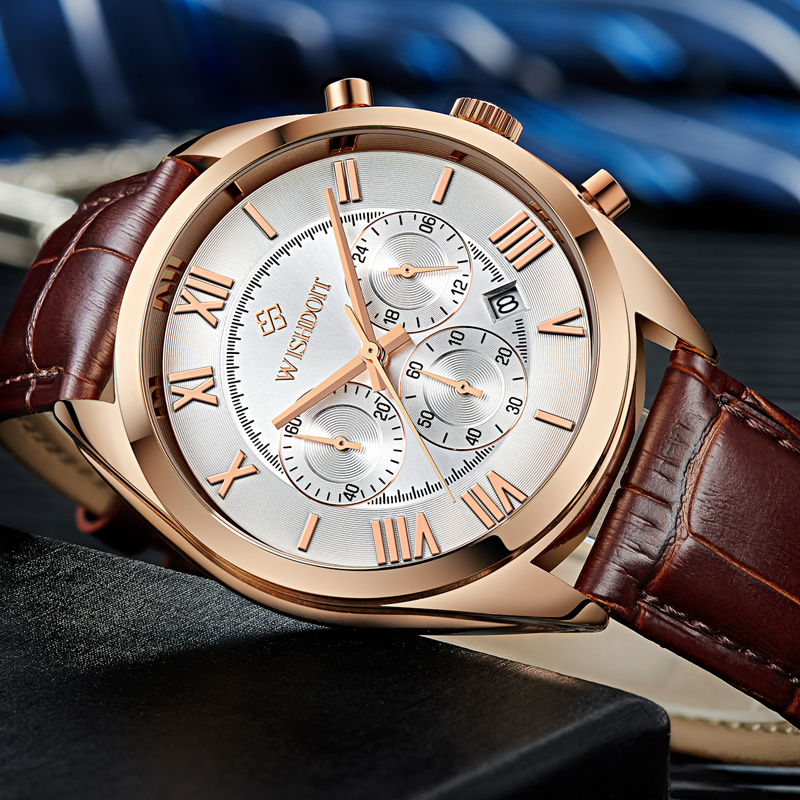 fe96597c642 2017 Luxury WISHDOIT New Fashion Leather Strap Multifunction Watches Men  Quartz Watch Waterproof Wristwatches Male Table Relojes-in Quartz Watches  from ...