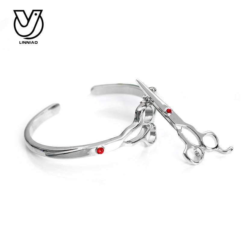 Fashion Women Bracelets & Bangles For professional hairdresser Designer Women Scissor shape Bracelets