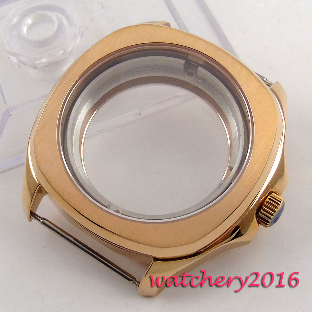 40mm Stainless Sapphire Crystal Rose golden Watch Case fit 8205 8215 821A 2836 movement