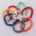 Nuevo Diseño Para Niños 15 cm Longitud Beads Pulseras Elásticas de Goma de Moda Jengibre 18mm Botón A Presión de Metal Pulseras para Niños niñas
