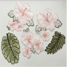 5pcs/set organza embroidery patches for clothing Flower leaf embroidered apploques Sew on parches bordados para