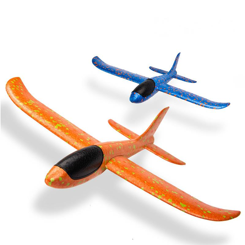 2 Pack Outdoor Fun Sports Toy Throwing Foam Airplane Manual Fun Challenging Model Hand Launch Glider Plane Inertia Aircraft 49cm