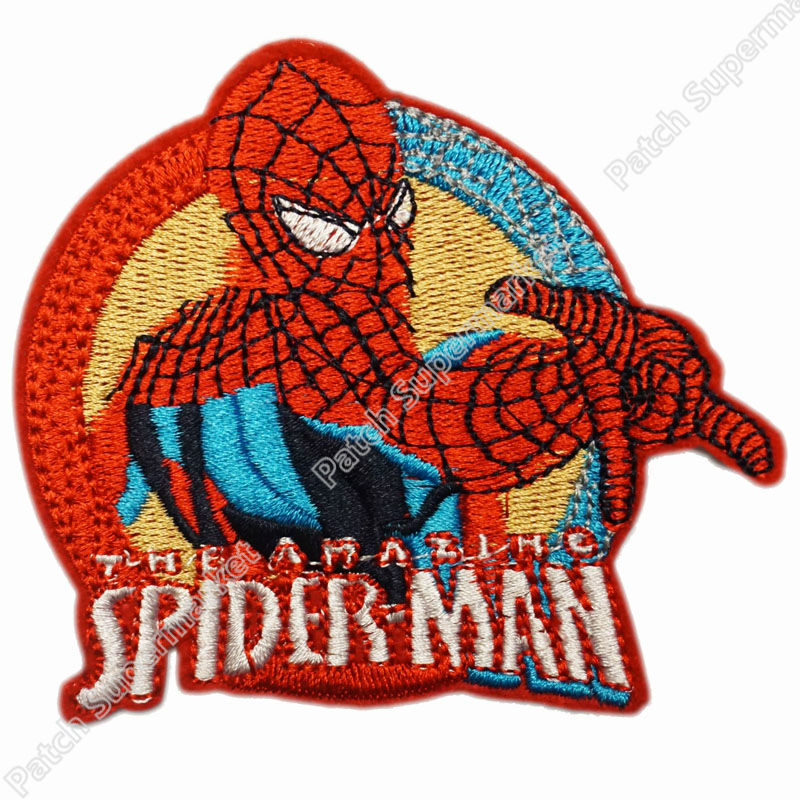 3.8 JUMPING MR SPIDER MAN Spiderman PATCHES Spider-man Homecoming Superhero TV Movie Film Embroidered Iron On Badge clothing