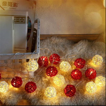 4m 20 White Red Rattan Balls Lights Led String Fairy Holiday Xmas Lights Outdoor Guirlande Lumineuse Exterieur Luces Decorativas