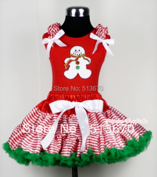 XMAS Red White Streak Pettiskirt Red Top Ruffle Bow with Ginger Snowman Set 1-8Y MACM118 red black 8 layered pettiskirt red sparkle number ruffle red bow tank top mamg575