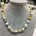 FREE SHIPPING fashionjewelry  naturel baroque pearl and yellow agate and crystal  NECKLACE  magneticclasp pure handworing made
