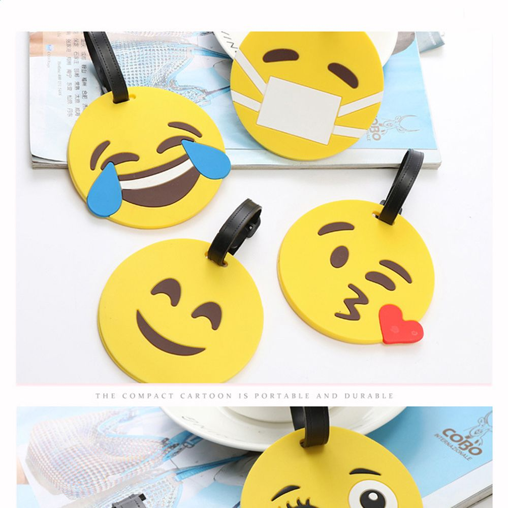 Travel Accessories Luggage Tag Creative Various Emoji Expression Suitcase ID Address Holder Baggage Boarding Tag Portable Label