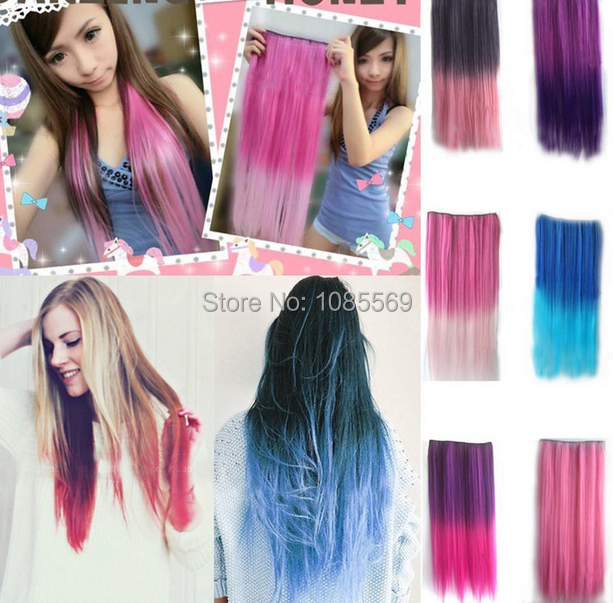 Luckygirl Rose Red To Dark Purple Straight Ombre Dip Dye Color In