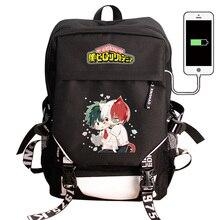 Meu herói academia portátil mochila de carregamento usb boku nenhum herói academia cos escola saco pacote mochila viagem à prova dwaterproof água