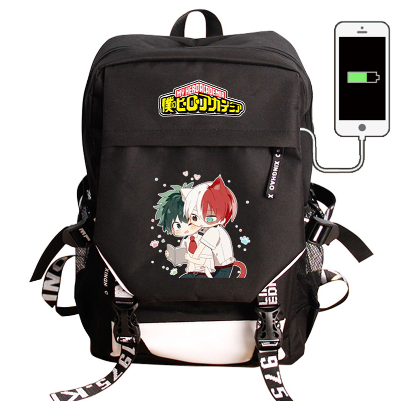 My Hero Academia Laptop USB Charging Backpack Boku No Hero Academia COS School Bag Pack Bag Backpack Waterproof Travel Rucksack