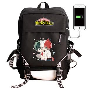 Image 1 - بلدي بطل الأكاديمية محمول USB شحن ظهره Boku لا بطل الأكاديمية كوس حقيبة مدرسية حقيبة ظهر حقيبة للسفر مقاوم للماء