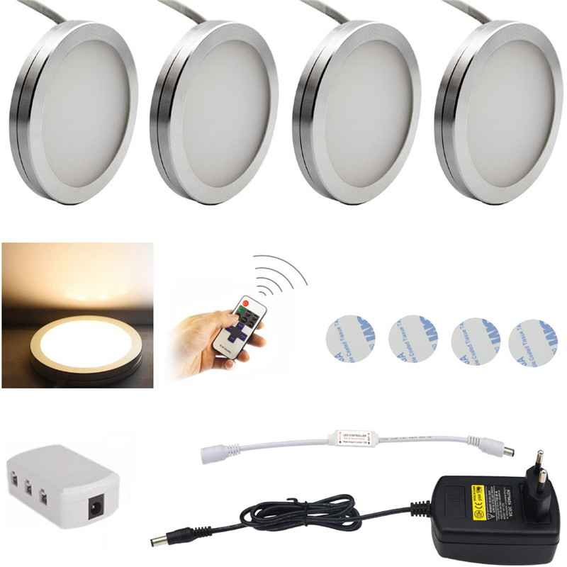 AIBOO LED Under Cabinet Lighting 4PCS LED Puck Llights with Wireless RF Remote Control Dimmable for Furniture Lighting ...
