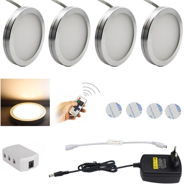 Puck Luzes LED Sob o Armário de Iluminação Downlight Holofotes com Controle Remoto Sem Fio RF Regulável para Iluminação Móveis 4 pcs