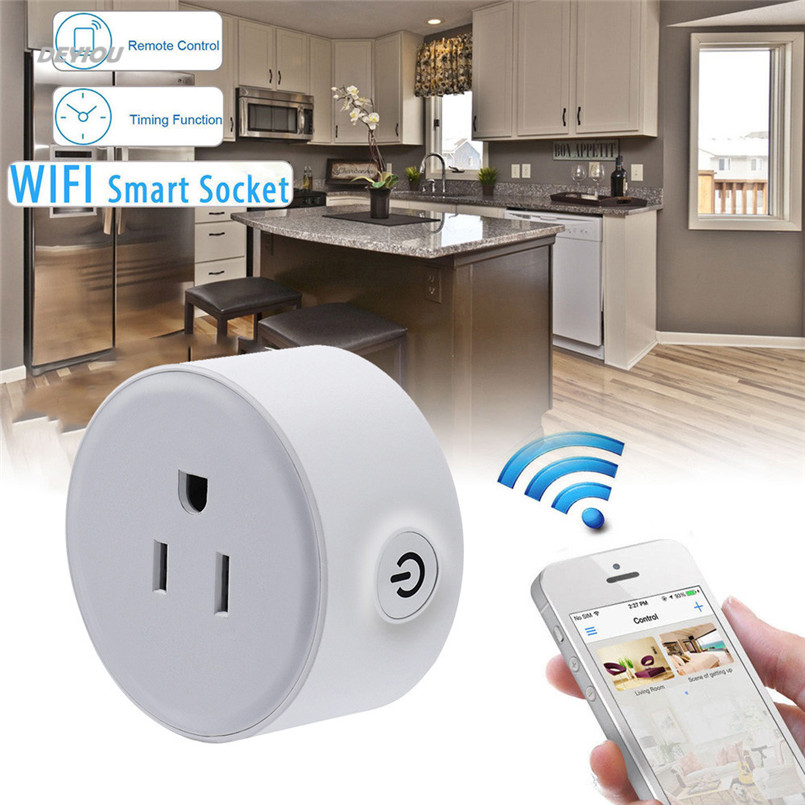 2200W Wireless US WiFi Phone Remote Control Repeater Smart AC Plug Outlet Power Switch Socket Status Tracking Practical DEYIOU