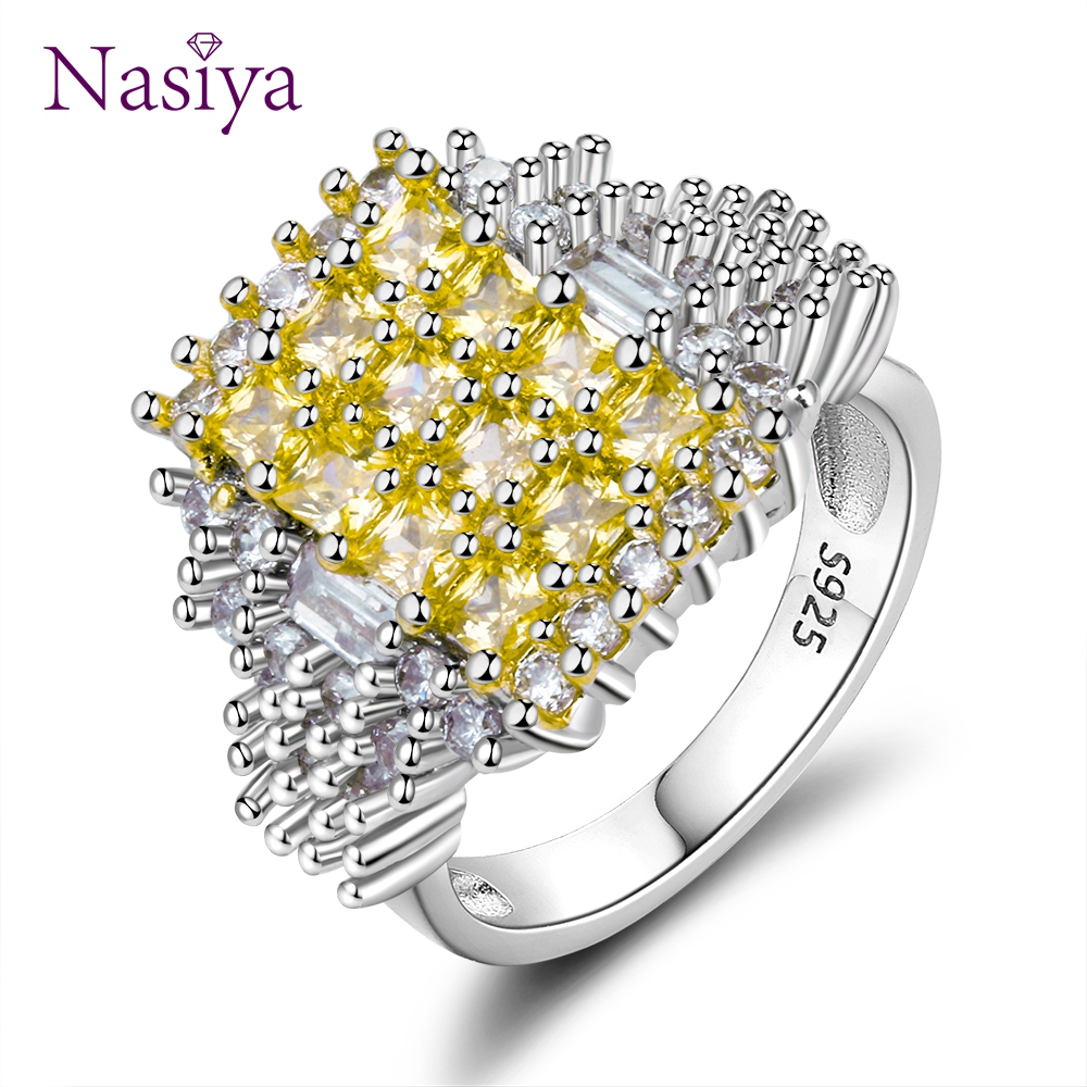 Nasiya Hight Quality Luxury Yellow Crystal Zircon Rings For Women Silver 925 Jewelry Ring With Stones Fashion Party Gift