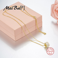 [MeiBaPJ]Very Fashion Circl Pendant Necklace High Quality AAA Zircon Pendant 925 Sterling Silver Necklace for Women Fine Jewelry