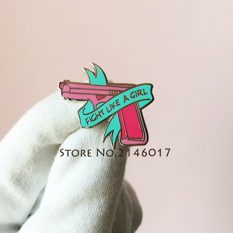 1e04a1f7 Hot Hard Enamel Feminist Female Brooch Fight Like A Girl Power Lapel Pin  Pink Gun Ribbon Feminism Women's Rights Pins Badge