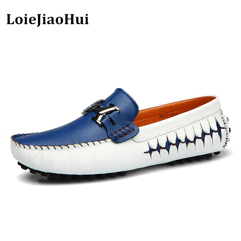 New Fashion Men High Quality Genuine Leather Loafers Luxury Brand Casual Flats Lazy Shoes Men Moccasins Driving Shoes dxkzmcm new men flats cow genuine leather slip on casual shoes men loafers moccasins sapatos men oxfords