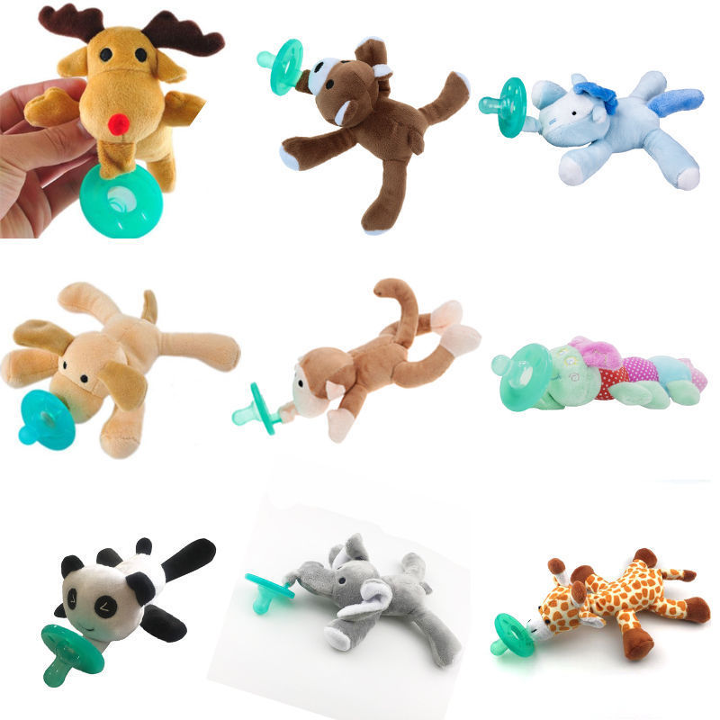 Cute Infant Baby Boy Girl Silicone Pacifiers Kids Cuddly Plush Animal Dummy Pacifiers Orthodontic Nipples