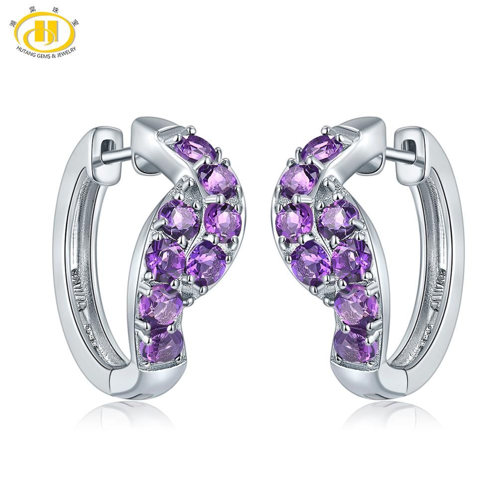 Hutang African Amethyst Clip Earrings 925 Sterling Silver Natural Gemstone Fine Fashion Stone Jewelry for Women