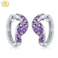 Hutang African Amethyst Clip Earrings 925 Sterling Silver Natural Gemstone Fine Fashion Stone Jewelry for Women's Best Gift New