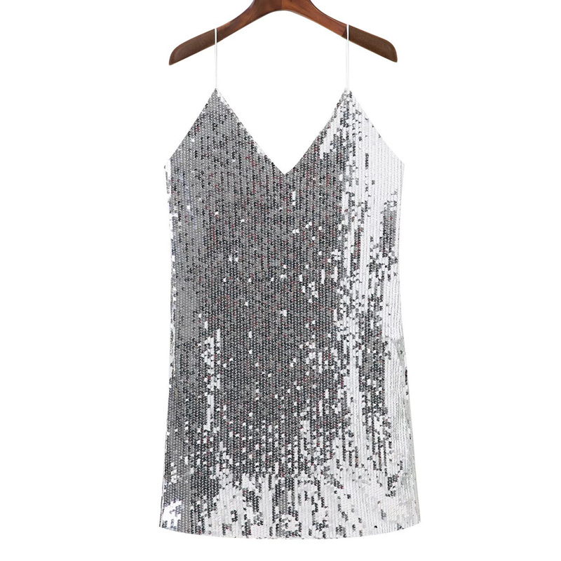 Silver Sequined Backless Sexy Dress 5
