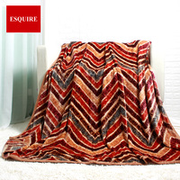 high quality 100% polyester big thick stripped wave brown fleece flannel bed spread blanket for king bed 200x230cm 78x90inch