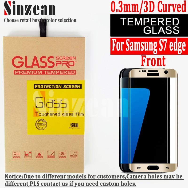 bilder für Sinzean 20 stücke 3D Gebogene vollbild gehärtetem glas Für samsung galaxy S7 rand 3D Gebogene voll gehärtetem glas bildschirm schutz