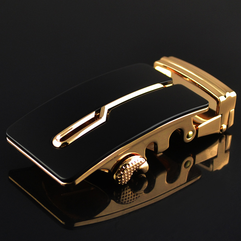 35mm Width Mens Belt Buckle Head High Quality Genuine Leather Automatic Belt Buckles For Men Black Gold CE699-02