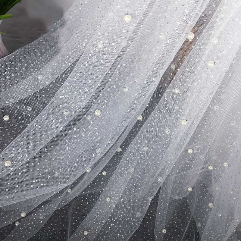 ... 2 Meter lot Width 150cm Sequin Pearls Tulle Fabric Pearl Mesh for Dress  Party Skirts ... 3f9f61b7b2f2