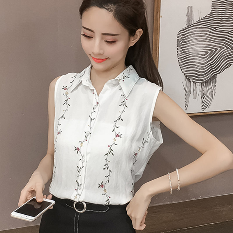 dc970c68c96fab 2018 New Fashion Flower Embroidered Sleeveless Ladies Tops Casual Slim  Chiffon Shirt Women Cute Sweet White Blouse Summer Top-in Blouses & Shirts  from ...