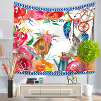 Summer Polyster Fresh Colored Flowers Mandala Tapestry Retro Hippie Home Decor Blanket Soft Yoga Mat Cover Up Blanket