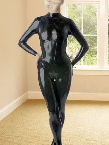 100% Látex Catsuit de Borracha Bonito Collants Bodysuit Uniforme Preto Tamanho XS ~ XXL