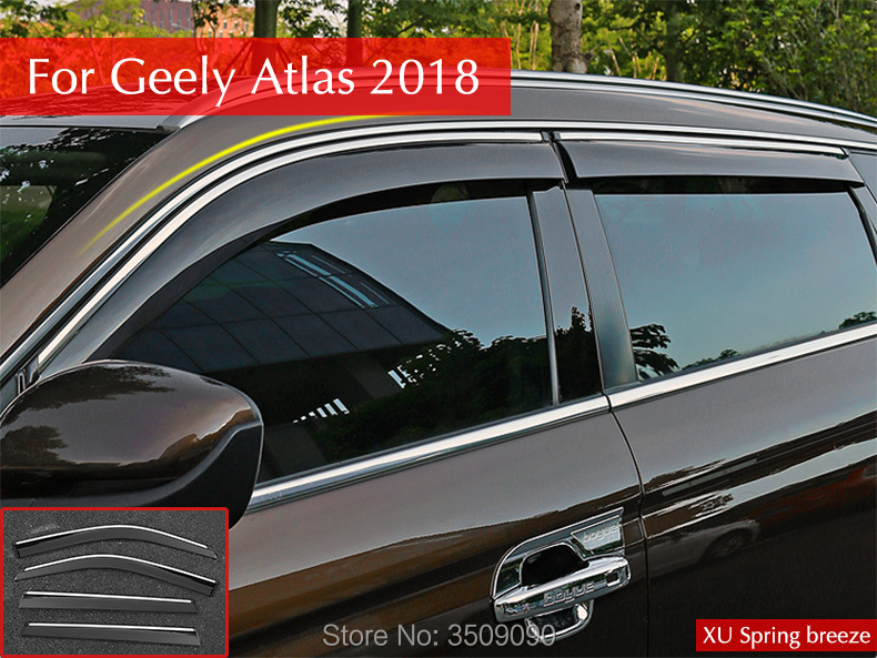 цена Car Rain Shield Rain Shelter Windows Shelter Window Visor Window Deflector Sun Visor 4Pcs/Set For Geely Atlas 2017 2018