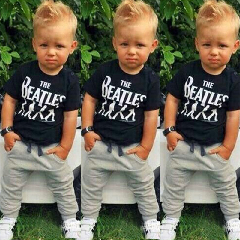 2pcs Newborn Baby Unisex Clothes Set Baby Boys Girs Clothes Outfits 2017 New Arrival Short Sleeve Letter T-shirt Tops+Pants Set ...