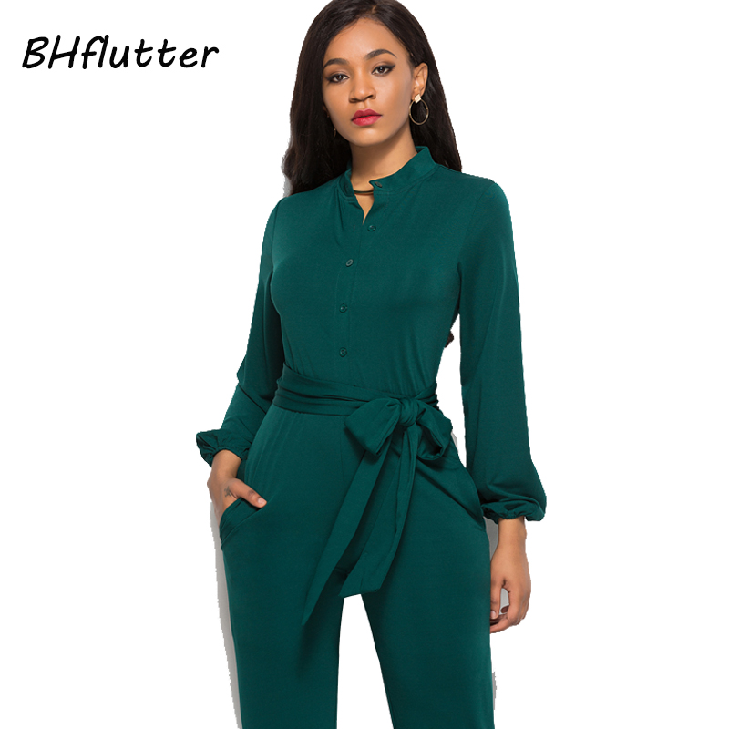 BHflutter Jumpsuit Women Romper 2018 New Style Buttons Casual Overalls Long Sleeve Autumn Winter Jumpsuits Full Pants Plus Size 2
