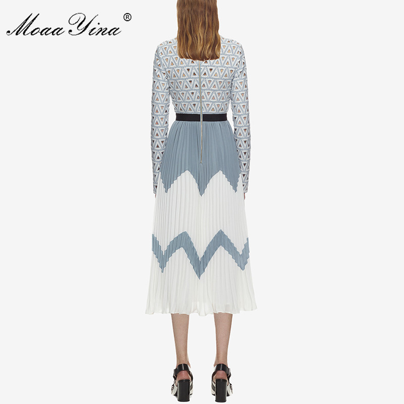 MoaaYina 2018 Fashion Designer Runway Midi Dress Summer Women Stand collar Long sleeve Hollow Out Patchwork Pleated Casual Dress