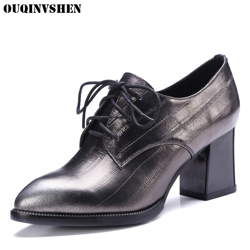 цены  OUQINVSHEN Pointed Toe Women Pumps Square heel High Heels Women Genuine Leather Single Shoes Casual Fashion Ladies Girl Pumps