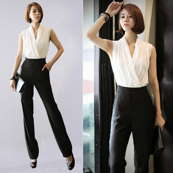 2014 Fashion womens Elegant Chiffon High Waist Jumpsuit OL office ...