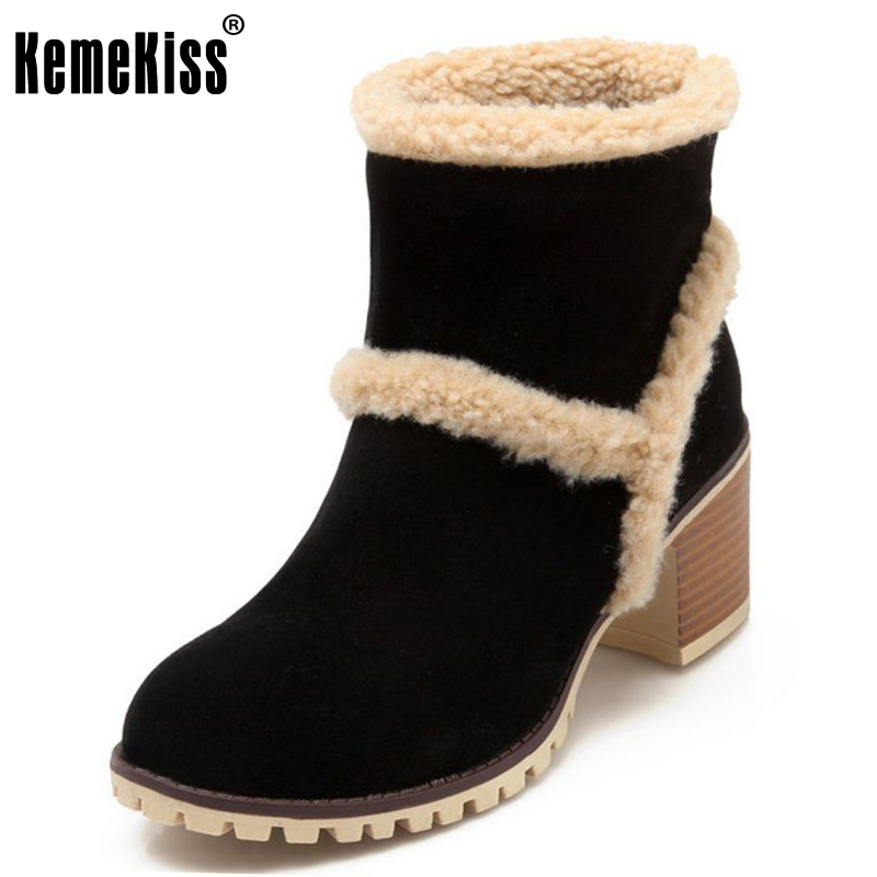 KemeKiss  Size 34-43 Women Thick Fur Ankel Boots Snow High Heel Boots Cold Winter Shoes Warm Boots Fur Botas For Women Footwear