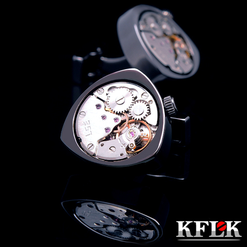 KFLK jewelry shirt cufflinks for mens Brand cuff buttons black watch movement cuff links High Quality abotoaduras Jewelry kflk jewelry fashion shirt cufflinks for mens gift brand cuff links buttons blue high quality abotoaduras gemelos free shipping