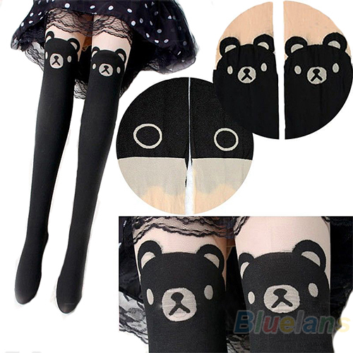 NEW Japan Cute Teddy Print Thigh-High BEAR TAIL TATTOO TIGHTS PANTYHOSE 0JQX ...
