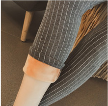 2017 newest spring hot sales black grey Women's Vertical stripes tight elastic plus velvet warmth outer base leg pants