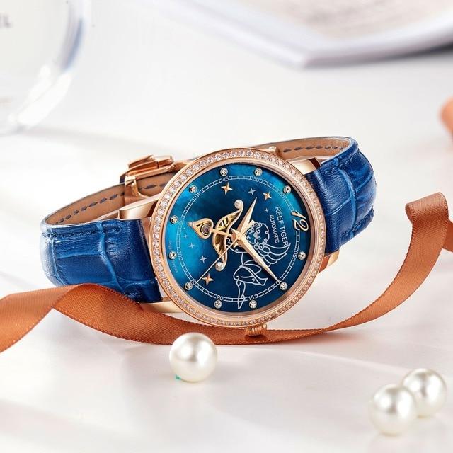 Nuevo Reef Tiger/RT relojes de moda para mujer, esfera azul, oro rosa, relojes para amantes de los diamantes, relojes de mujer, Relogio Feminino RGA1550