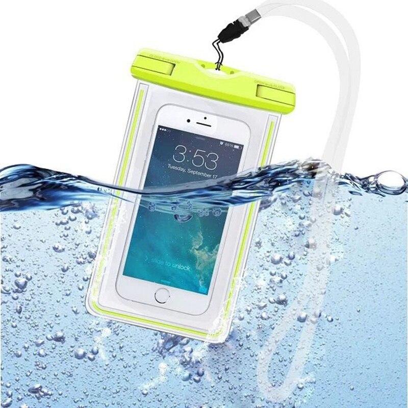 Bolsa impermeable con luminoso subacuático bolsa del teléfono case para iphone 5